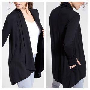 Athleta Pranayama Wrap Black Open Sweater Cardigan